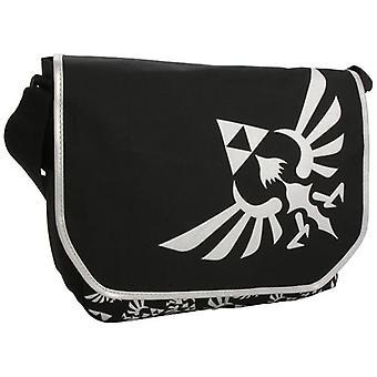 NINTENDO LEGEND OF ZELDA Polyester Kuriertasche mit Sticken Link Logo, schwarz/weiß (MB00GTNTN)