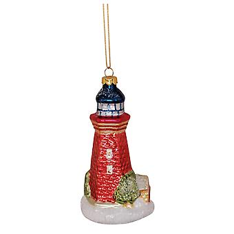 Lighthouse blæst glas Christmas Holiday Ornament Cape Shore