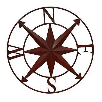 Distressed Metal Indoor/Outdoor Compass Rose Wall Sculpture 28 Inch