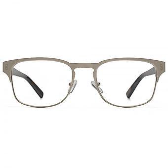 Hook LDN Holt Stainless Steel Keyhole Rectangle Glasses In Matt Brown