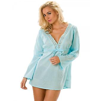 Camille blå Cheesecloth Womens bomull Broderie Anglaise Kaftan