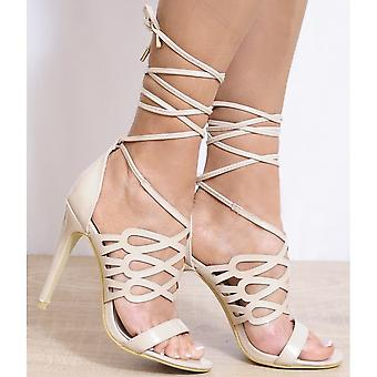 Koi Couture Ladies Ed19 Nude Patent Peep Toes Ankle Strap Strappy Sandals High Heels