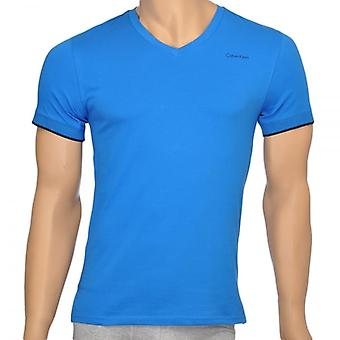 Calvin Klein Core Solid Short Sleeve V-Neck T-Shirt, Blue, Small
