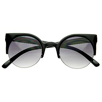 Designer Inspired Round Circle Cat Eye Semi-Rimless Half Frame Sunglasses