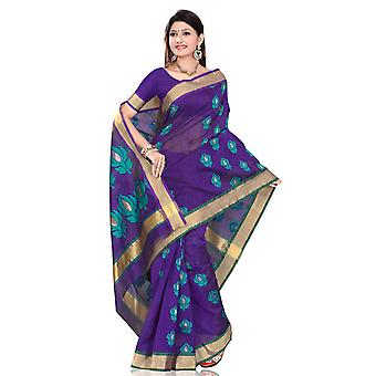 Moderne blauwe ontwerper Sari saree Indische buikdansen fabrc wrap