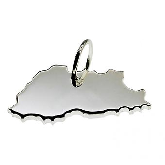 Trailer map BHUTAN pendant in solid 925 Silver