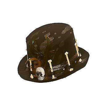 Adults Voodoo Black Top Hat with Bones & Feather Fancy Dress Accessory