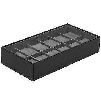 Wolf Designs Black 12 Piece Watch Tray