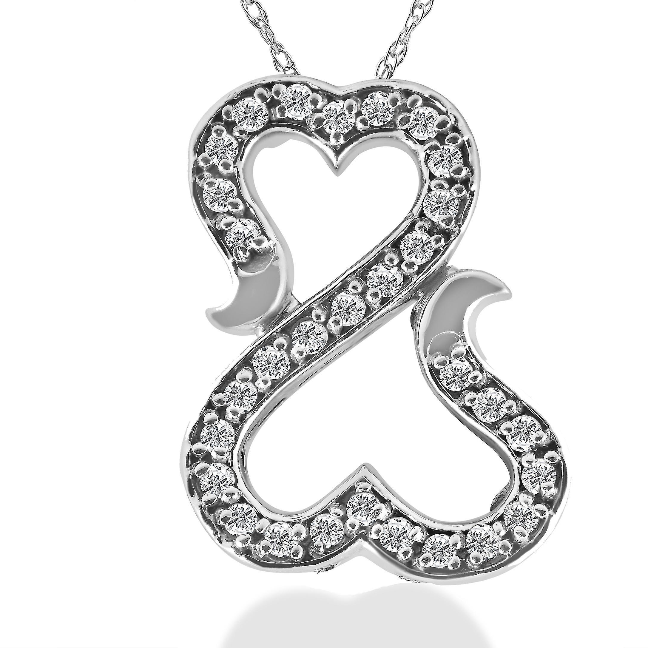 1   4ct  Amore  diahommet coeur pendentif or blanc 10K