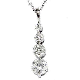1 1/2ct 14K White Gold Real Diamond Journey Pendant New