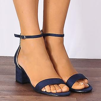 Shoe Closet Navy Blue Faux Suede Barely There Low Heeled Strappy Sandals