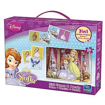 3-em-1 jogos e quebra-cabeças Disney o rei Sofia o primeiro