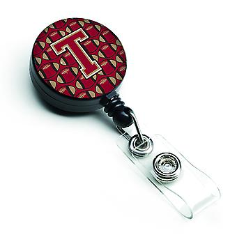 Letter T Football Garnet and Gold Retractable Badge Reel