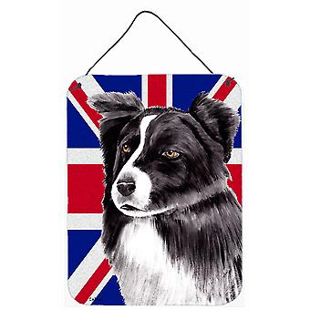 Border Collie with English Union Jack British Flag Wall or Door Hanging Prints