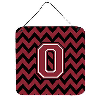 Letter O Chevron Garnet and Black  Wall or Door Hanging Prints