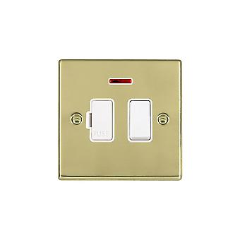 Hamilton Litestat Hartland Polished Brass 13A DP Fused Spur + Neon WH/WH