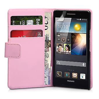 Yousave Huawei Ascend P6 Leather-Effect Flip Case - Baby Pink