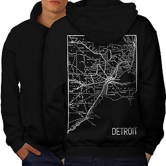 Map Street Detroit Men BlackHoodie Back   Wellcoda