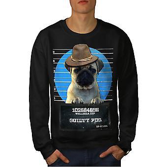 Pug Animal Criminal Dog Men BlackSweatshirt | Wellcoda