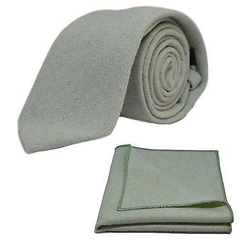 Mint grön fiskbensmönster slips & Pocket Square Set