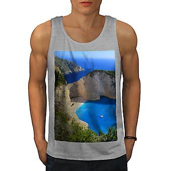 Cliff Ocean Water Men GreyTank Top   Wellcoda