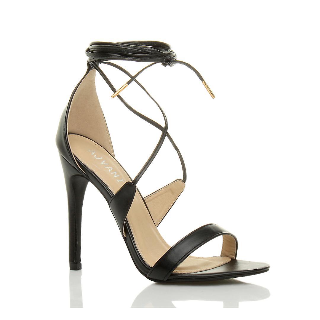 Ajvani Womens hohe Ferse gibt es kaum Riemchen Spitze binden Sandalen Schuhe