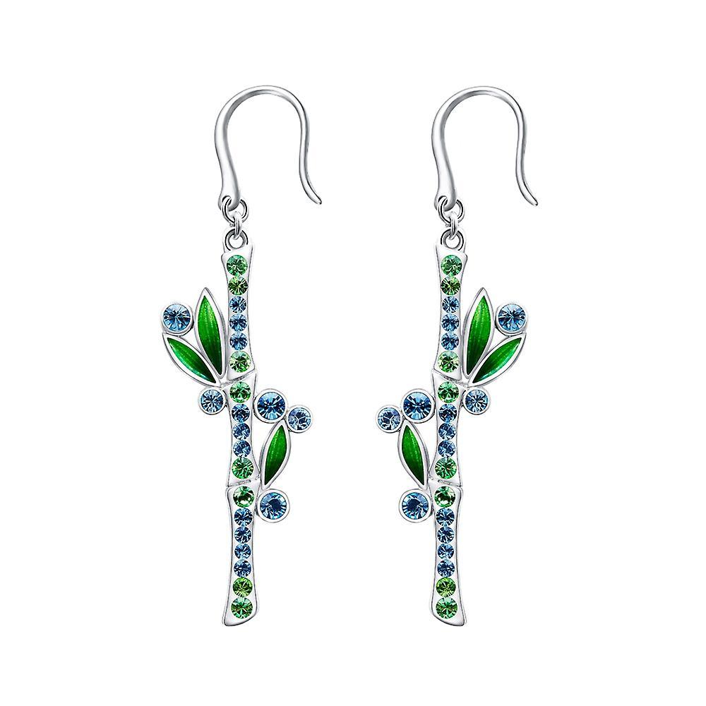 Boucles d&oreilles Bambou orné de cristaux de Swarovski bleu vert