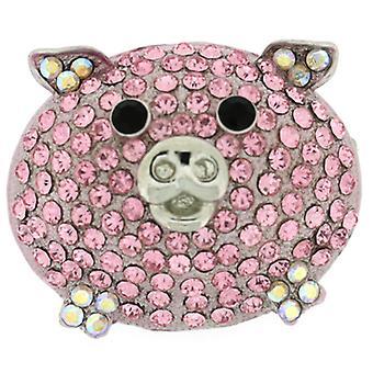 Broscher butik runda skrymmande Rose Crystal ljusrosa Piggy brosch