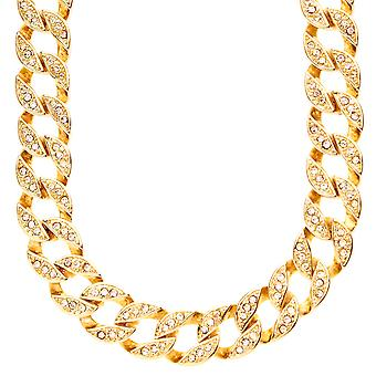Iced out bling hip hop kæde - cubic ZIRCONIA bremse 15 mm guld