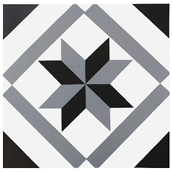 Wellindal Floor Tile Sticker Black Star Hydraulic Slab Style (Doe-het-zelf , Anderen)
