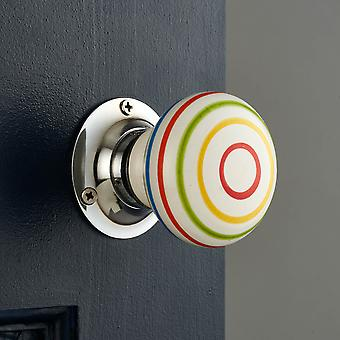 Multi Colour Striped Ceramic Mortice Door Knobs