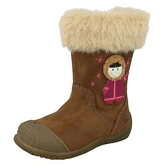 Girls Clarks First Leather Boots Eskimo Fur