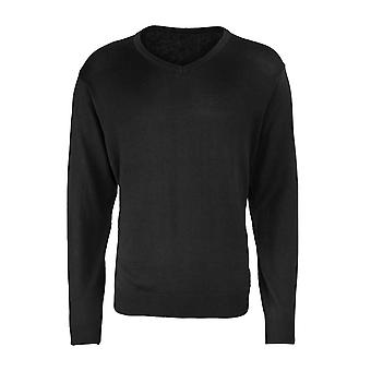 Premier Mens Long Sleeve V Neck Knitted Casual Cotton Sweater Jumper Black,Navy