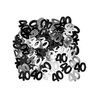 Coriandoli di compleanno 40 ° compleanno Glitz Black & argento