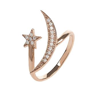 Latelita Ring Midi Stacking Moon Stars Sterling Silver Rose Pink Gold Star CZ
