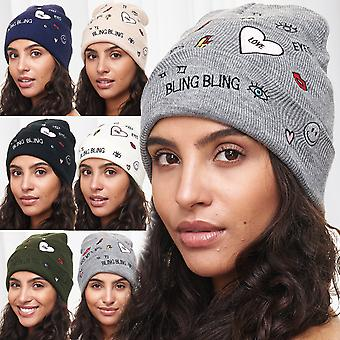 Ladies Hat Beanie heart girls knitted Hat pattern motif slouch winter Hat new