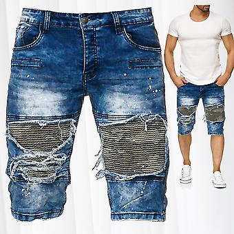 Men's Bermuda Jeans Shorts Destroyed Used Stone Washed Biker Knee Color Splashes