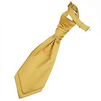 Gold Plain Satin Pre-Tied Wedding Cravat for Boys