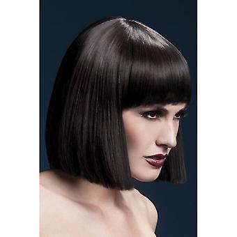 """Smiffy's Fever Lola Wig Brown, Blunt Cut Bob With Fringe (12"""", 30cm)"""