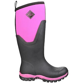 Muck Boots Arctic Sport Black and Pink Wellington Boots