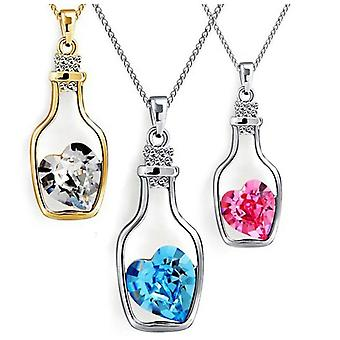 Crystal Heart in a Bottle Necklace - Pink Crystal
