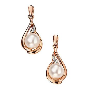 Elements Gold Pearl and Diamond Drop Earrings - Rose Gold/White