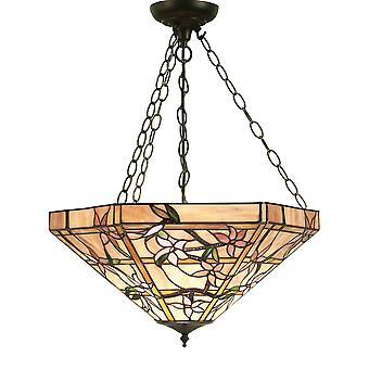 Wnętrza 1900 Clematis 3 światła Tiffany Glass odwrócony żyrandol