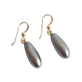 GEMSHINE ladies earrings with Tahitian grey drop Pearl. 2.5 cm long high-quality gold-plated earrings - made in Munich / Germany - the elegant jewelry with gift box delivered.