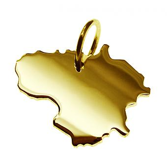Trailer map Lithuania pendants in massive 585 gold