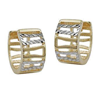 Öra-ringar guld hoop örhängen Guld Creole, 12 mm, bicolor mönster, 9 k GULD