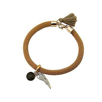 Mujeres - pulseras - oro cromado - piedras preciosas - ahumado cuarzo - alas de Angel - marrón