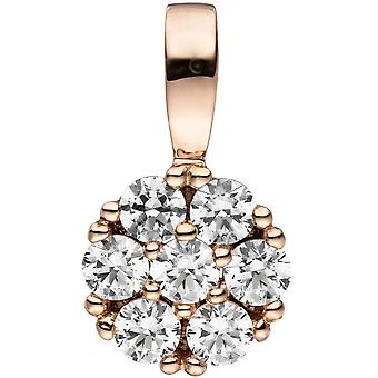 333 followers gold Rose Gold 7 cubic zirconia Rotgold pendant