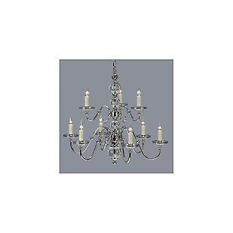 Interiors 1900 Tilburg Polished Nickel & Crystal 9 Light Chandelier