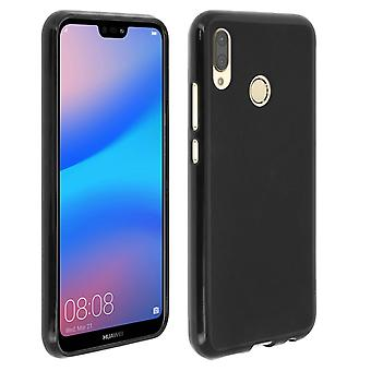 Silicone case, Glossy & matte back cover for Huawei P20 Lite - Black